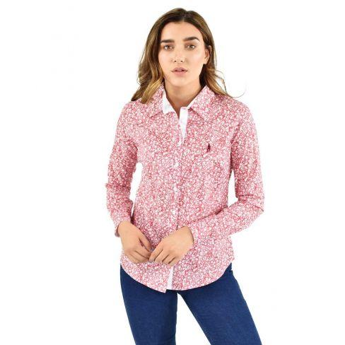 Bree Ladies Classic Shirt - Red Botanics