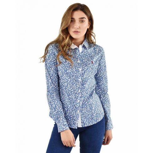 Bree Ladies Classic Shirt - Navy Botanic