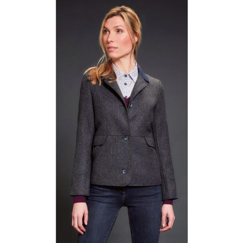Jack Murphy Donna L/S Fitted Jacket With Peplum - Navy Teal Dreamer