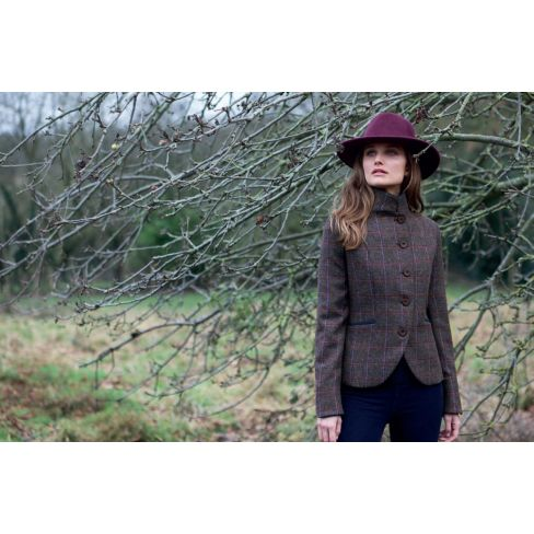 Jack Murphy Sasha L/S Tweed Fitted Jacket Moleskin Trims - Deep Burren