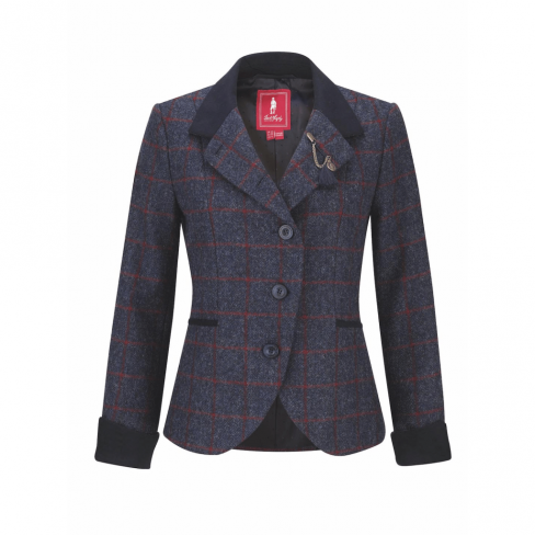 Jack Murphy Harriet  Navy Check Tweed Jacket