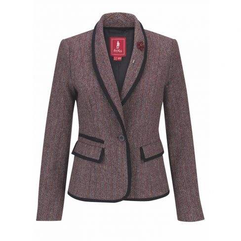 Jack Murphy Margot Tweed Blazer Plum Herringbone