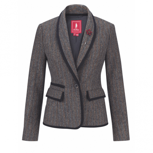 Jack Murphy Margot Tweed Blazer Teal Herringbone