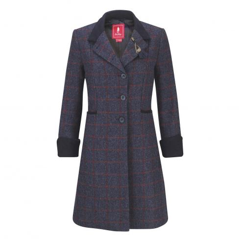 Jack Murphy Isabella Tweed Coat Long - Check Navy