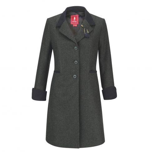 Jack Murphy Isabella Tweed Coat Long - Green Herringbone