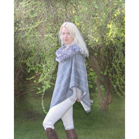Holly Tweed Cape with Faux Fur Collar - Silver Blue