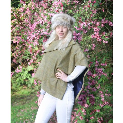 Melissa Tweed Cape with Tweed Collar - Light Olive