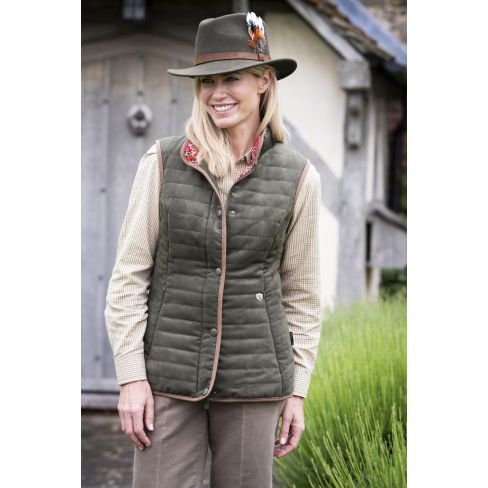 Alan Paine Ladies Felwell Quilted Waistcoat Olive