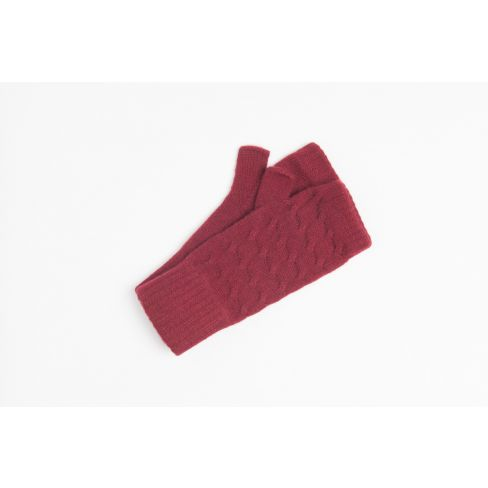 Cashmere Cable Wristwarmers - Burgundy