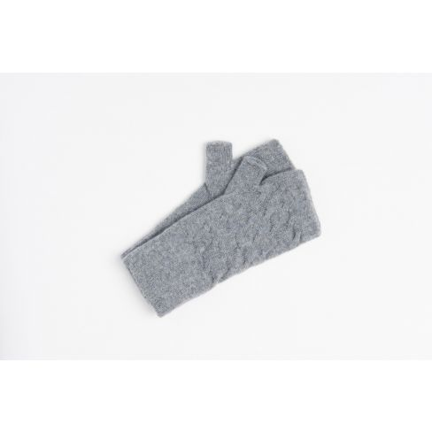 Cashmere Cable Wristwarmers - Mid Grey