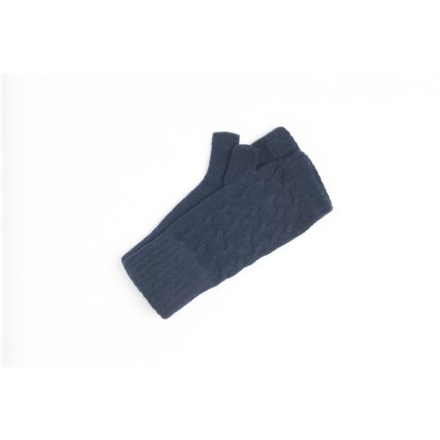Cashmere Cable Wristwarmers - Dark Navy