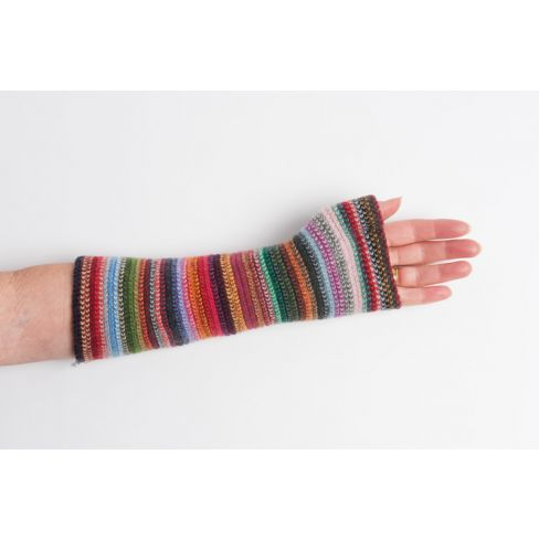 Lambswool Stripey Wristlets Red Multi