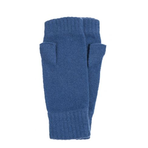 Lambswool Fingerless Mitts with Thumb Blue