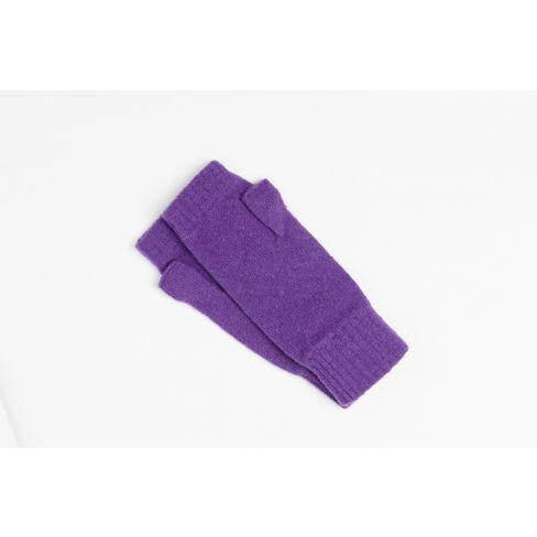 Lambswool Plain Wristwarmers - Purple