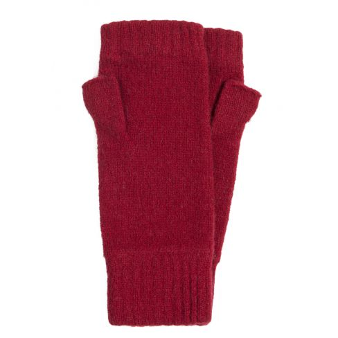 Lambswool Fingerless Mitts with Thumb Deep Red