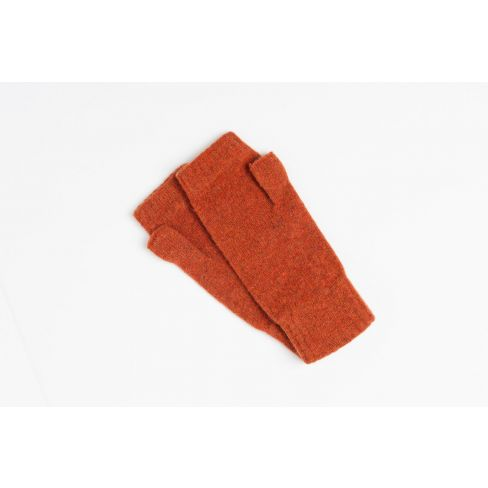 Lambswool Plain Wristwarmers - Rust
