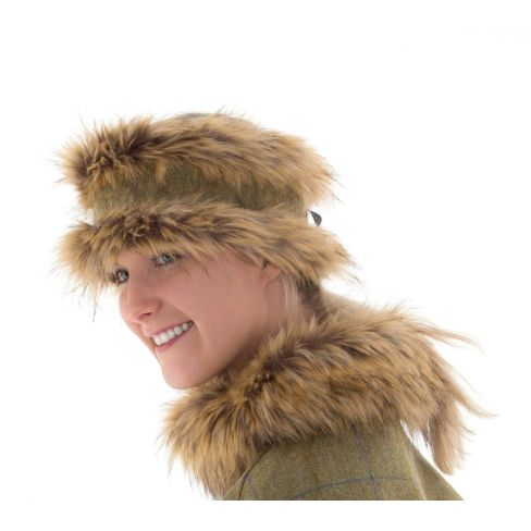 Melissa Reversible Tweed and Faux Fur Headband - Light Olive