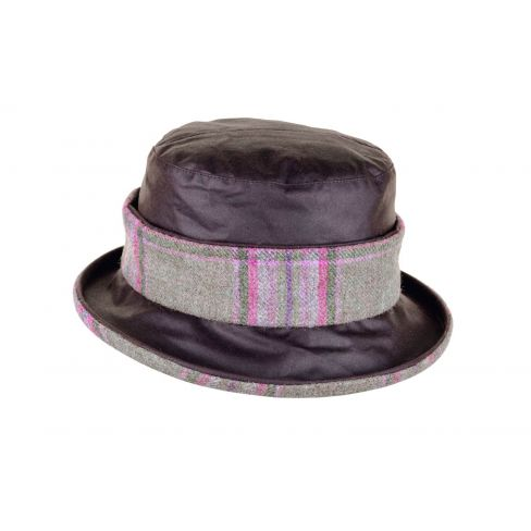 Wax Cotton Hat with Tweed Headband - Brown / Meadow