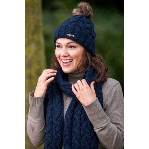 Louise Knitted Wool Scarf - Navy