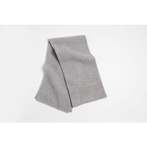 Cashmere Ribbed Scarf - Light Grey