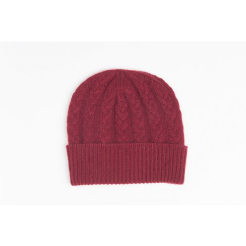 Cashmere Cable Beanie- Burgundy
