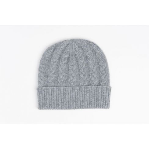 Cashmere Cable Beanie - Grey