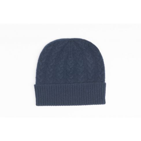 Cashmere Cable Beanie - Dark Navy