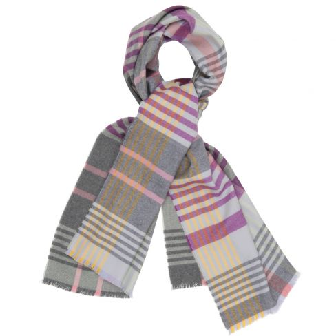 Ladies Fine Merino wool long scarves Pink/Grey