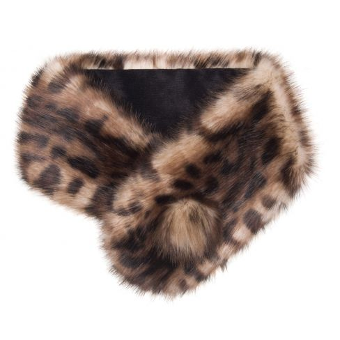 Faux Fur Pompom Button Collar Ocelot