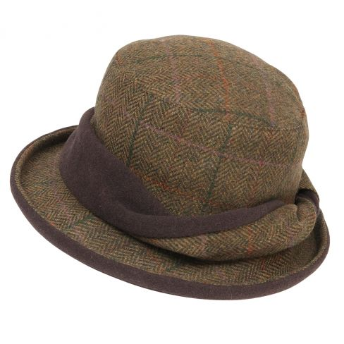 Ladies Tweed Twist Hat Green/ Lilac