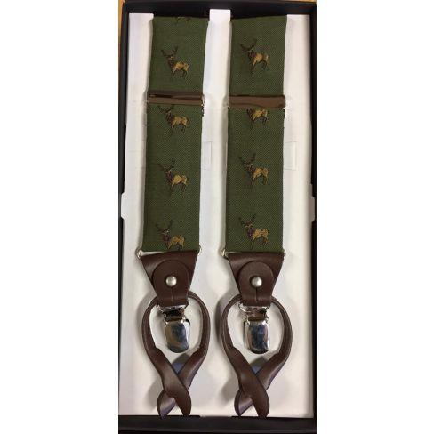 Silk and Leather Luxury Braces Partridge