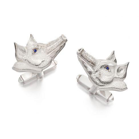 Pig Deco Cufflinks - Silver