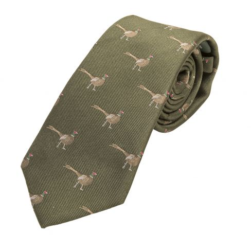 Woven Silk Tie Standing Pheasant Green