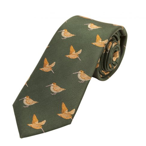 Woven Silk Tie Woodcock Green