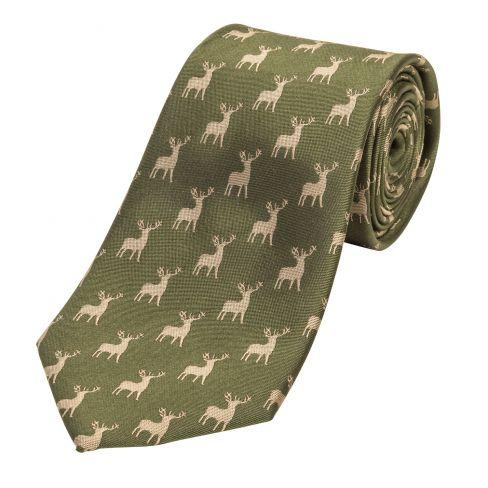 Luxury Woven Silk Tie Stag Green