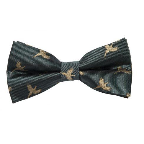 Silk Bow Tie Pheasant on Green