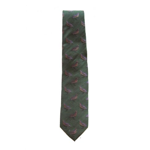 Hand-Made Woven Silk and Wool Tie Partridge