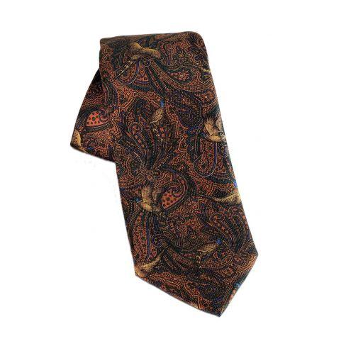 Silk Tie Pheasant Paisley Russet