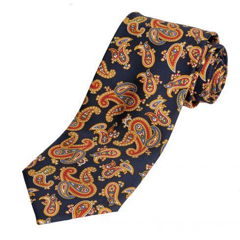 Paisley Silk Tie Navy
