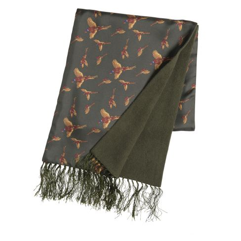 Luxury Silk and Lambswool Scarf Flying Pheasant Green