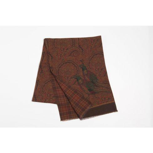 Luxury Italian Silk and Cashmere Scarf - Brown/Burgundy