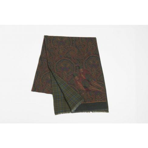 Luxury Italian Silk and Cashmere Scarf - Green