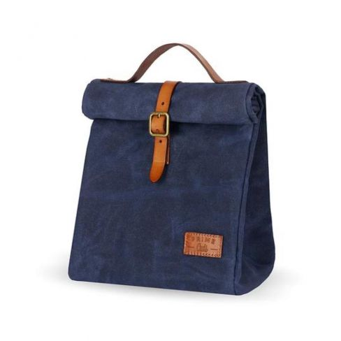 Waxed Canvas Insulated Picnic Bag - Navy