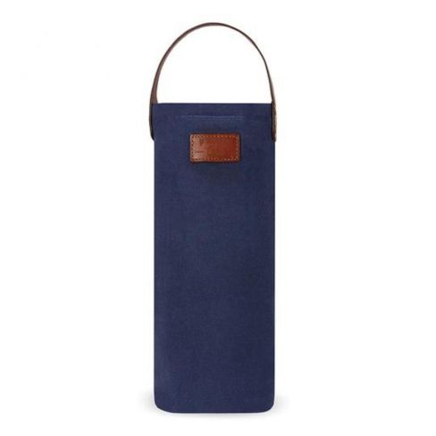 Waxed Canvas Insulated Bottle Bag - Navy