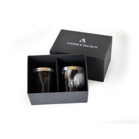 Set of Two Boxed Silver Banded Horn Beaker / Whisky Tots