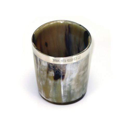 Silver Banded Horn Beaker / Whisky Tot