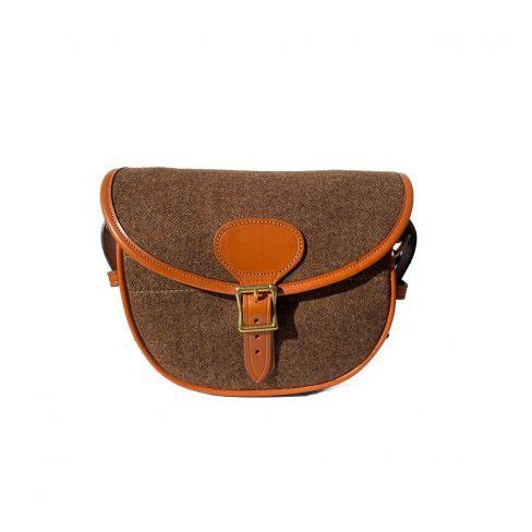 OT Tweed and Leather Cartridge Bag Brown