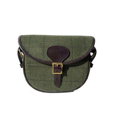 OT Tweed and Leather Cartridge Bag Dark Green