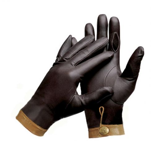 Gustavio Brown with Tan Trim Fine Goat Leather Shooting Gloves