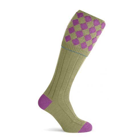 Unisex Charlton Shooting Sock - Fuchsia/Sage
